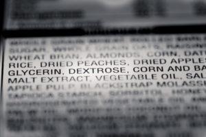 Azucares en ingredientes de la etiqueta nutricional