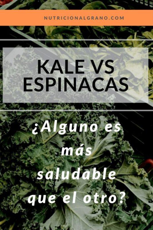 Pin para Pinterest sobre kale vs espinacas