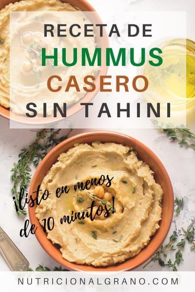 Receta de hummus casero sin tahini
